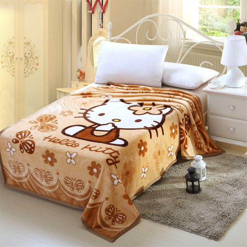 Hello Kitty Blanket For AdultKids Plush Fleece Blanket Kawaii Bed Stunning Kawaii Throw Blanket