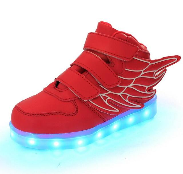 2016 moda de nueva carga usb led niños shoes con luz up kids boys & girls casual luminosos zapatillas de zapatos brillantes hook & loop