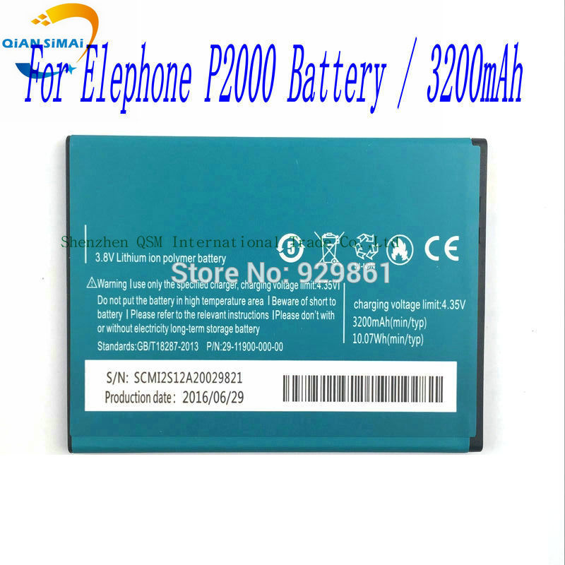 QiAN SiMAi 3200mAh New 100% high quality P2000 P2000C Battery for Elephone P2000 P2000C mobile phone Free shipping+track code ...