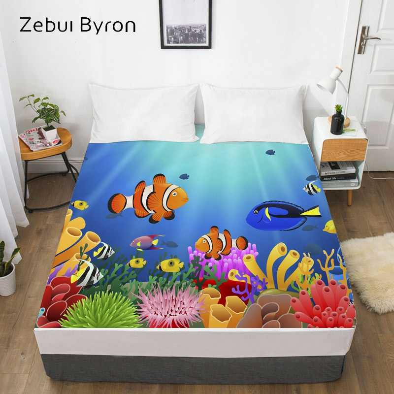 3D Print Cartoon Bed Sheet With Elastic,Fitted Sheet for Kids/Baby/Children/Boy/Girl,ocean fish Mattress Cover 160x200