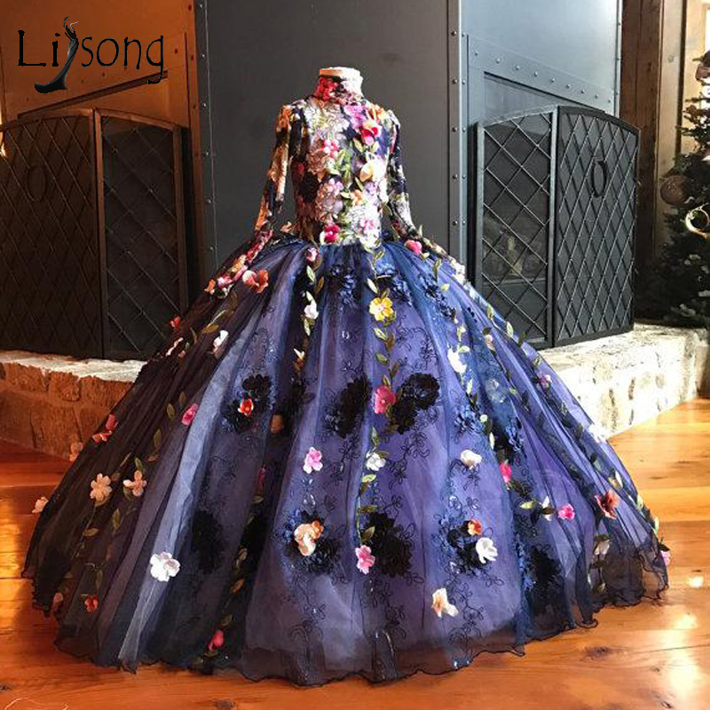 Pretty 3D Flower Pageant Dresses For Girls Full Sleeves High Collar Lace Flower Girl Dress 2018 Bow First Communion Dresses