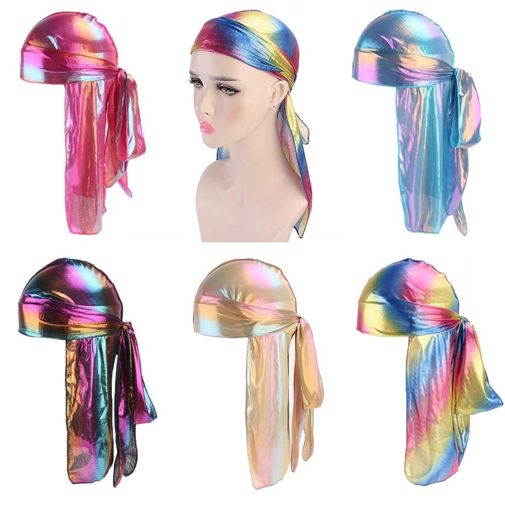 Unisex Colorful Laser Silky Durag hip hop doo rag headwrap Bandanas DU-RAG Long Tail Hair Accessories for Party Outdoor Бюстгальтер
