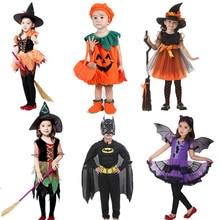 Halloween Boys Girls Outfits Set Pumpkin Cartoon Clothes Cosplay Costumes Kids Witches Fairly Hulk Unicorn Kids Halloween Dress
