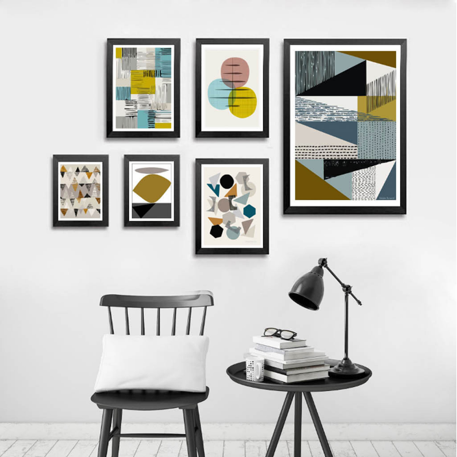 Abstract Geometric Canvas Painting Nordic Scandinavian Vintage Poster Print Wall Art Pictures for Living Room Office Home Decor