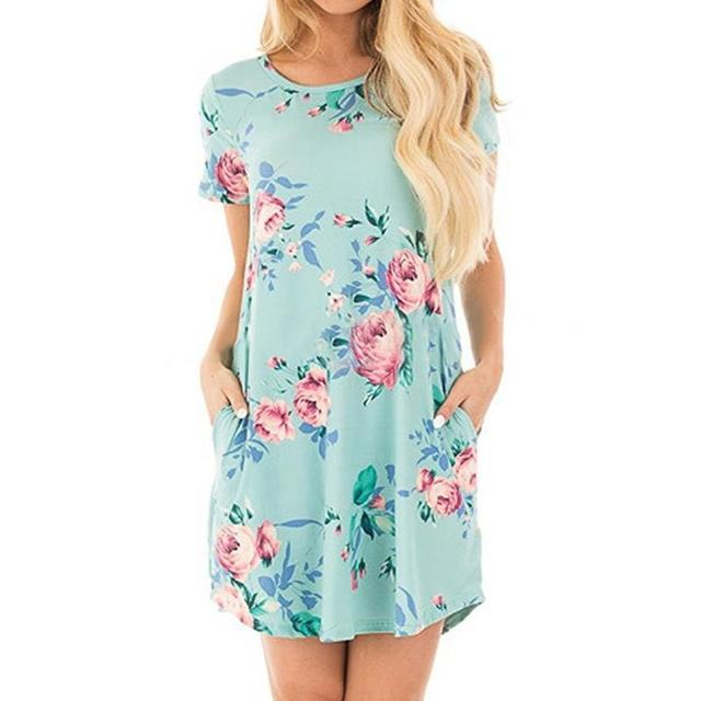 b2e7dc6e8cd Summer new Short sleeve sexy mini dress Round neck Floral print with pocket  beach dress Female Fashion Clothes D1184