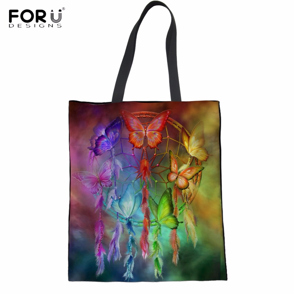 FORUDESIGNS Rainbow Butterfly Dreamcatcher Pattern Woman Cotton Shopping Tote Bags Foldable Reusable Eco Bags Large Grocery Bag