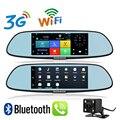 Nueva 7 pulgadas 3G WiFi GPS Espejo Android 5.0 DVR FHD 1080 P teléfono dual de la lente del video de la cámara de visión trasera bluetooth google gps dvr