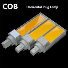 10PCS/LOT Horizontal Plug Lamp LED Bulb 7W 9W 12W COB E27 G24 Corn Light Warm White AC85V-265V Side lighting