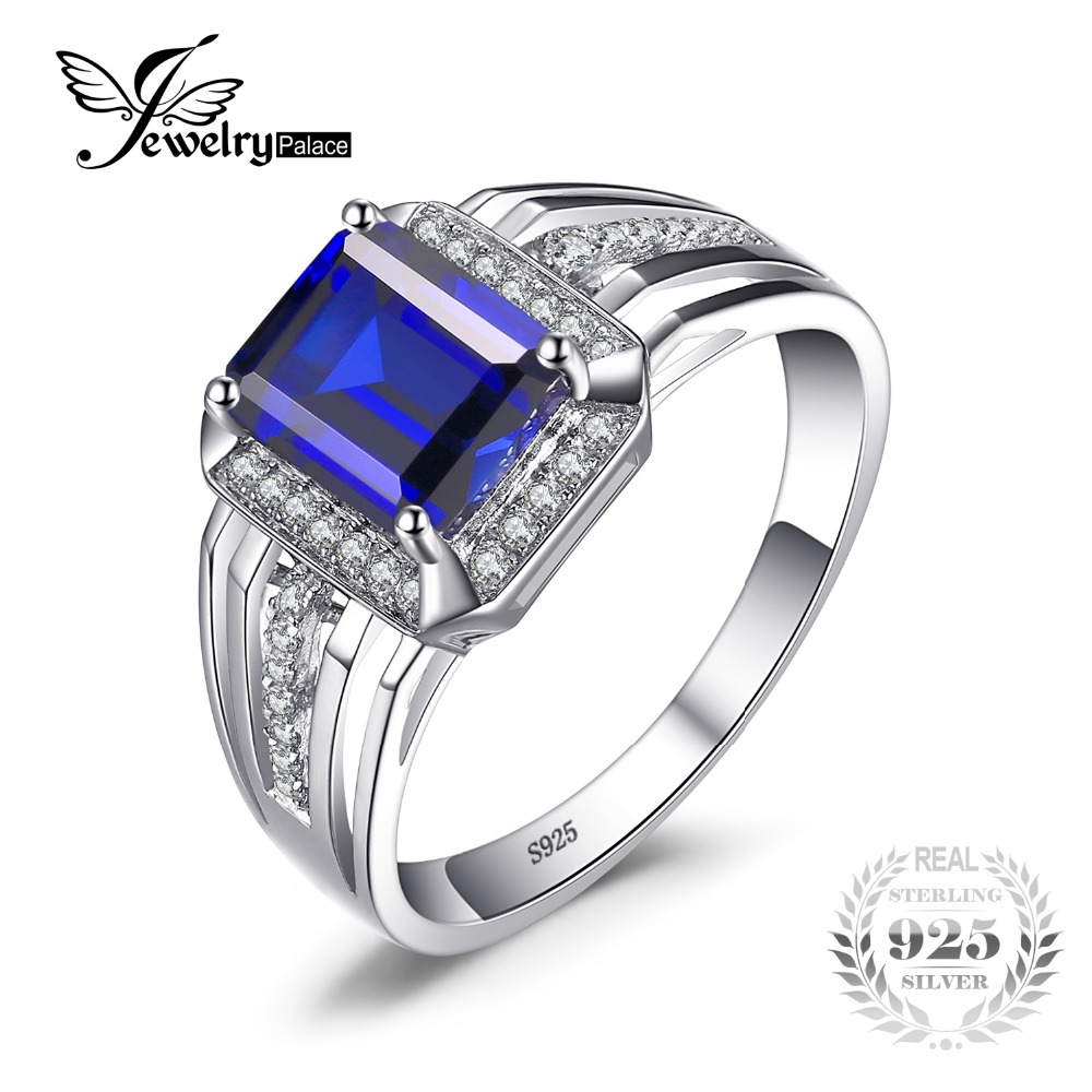 JewelryPalace Blue Sapphire Wedding Engagement Ring For Men