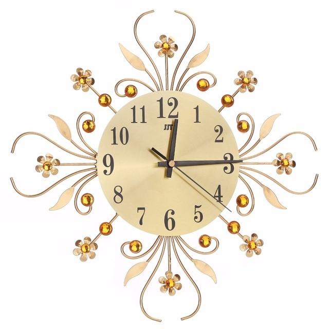 Luxury Modern Metal Wall Clock Flower Diamond Rhinestone Silent Wall ...