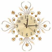 Luxury Modern Metal Wall Clock Flower Diamond Rhinestone Silent Wall Watch Room Home Office Decor Black/Gold High Quality C42