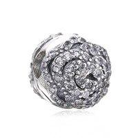Autentyczne 925 Sterling Silver Rose Flower Klip Micro Pave Wyczyść Cz Korek Fit Europejskie Koraliki Charms Pandora Jewelry