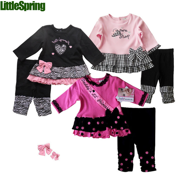 LittleSpring Retail Daddy Princess baby girl clothing sets Spring Autumn baby girls Infant suits clothing set baby clothes