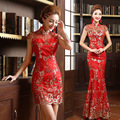 Red Gold Chinese Traditional Wedding Long Party New Silk Luxury Sequins Embroidery High Vintage Cheongsams Qipao HT10 ABC105