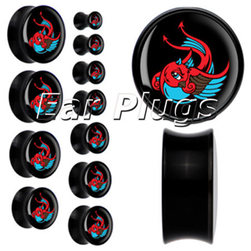 1 pair red swallow plug gauges acrylic saddle ear plug flesh tunnel piercing body jewelry