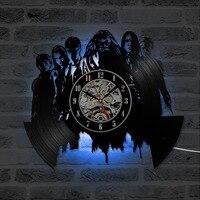 Dumbledor Creative Harry Potter Vinyl Record Clock Wall Decoration Black CD LED Light Hanging Wall Clocks Home Decor