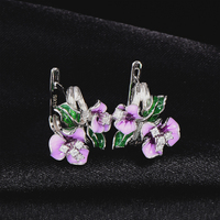 RainMarch Enamel Flower Silver Stud Earring For Women Handmade 925 Sterling Silver Earring Cubic Zirconia Wedding