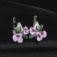RainMarch Enamel Flower Silver Stud Earring For Women Handmade 925 Sterling Silver Earring Cubic Zirconia Wedding Party Jewelry