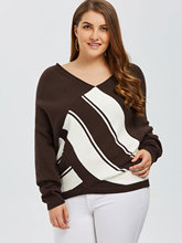 Coffee Block knitted sexy pullover women tops v neck long sleeve chic jumper XL-5XL