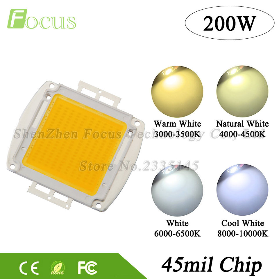 1Pcs High Power LED Chip 200W Natural Warm Cool White COB 32-34V Light Beads For DIY 200 Watt Floodlight Spotlight high power led chip 20w uv 360 365nm 20 watt uva purple cob light beads for polymer ink printing and banknote inspectio