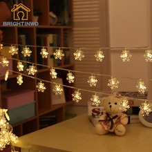 Snowflake String Battery Operated 20 Led Light for Bedroom Outdoor Xmas Decoration Indoor Christmas Tree Pendant Fairy Lights