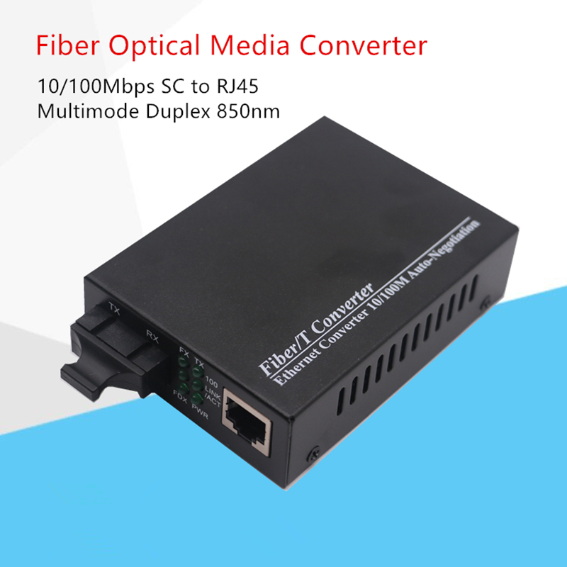 10/100Mbps Fiber Optical Media Converter Multimode Duplex Fiber Wavelenth 850nm 2km RJ45 To SC Connector