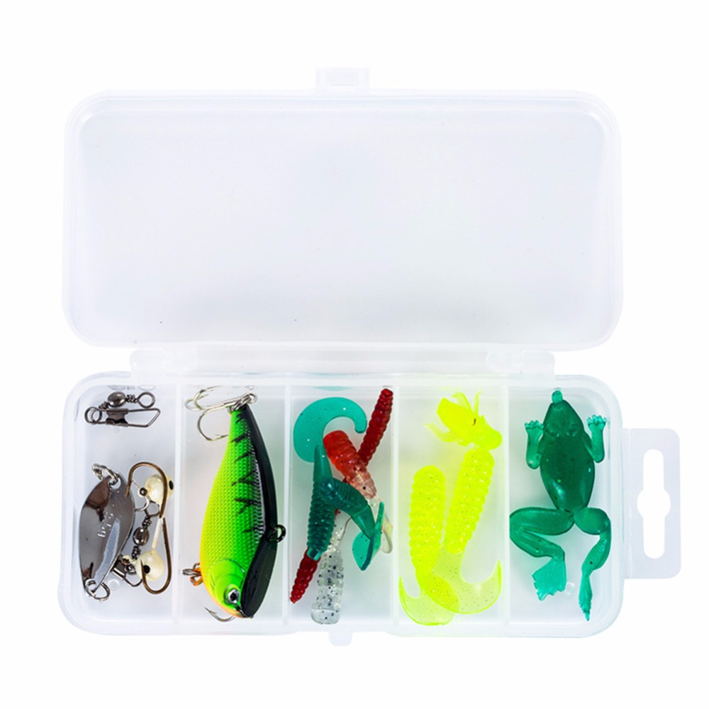 15Pcs/set Soft Lure Set Multicolor Artificial Protein Soft Bait with Lead Jig Head Fishing Hook Luya Suit fishing accessories