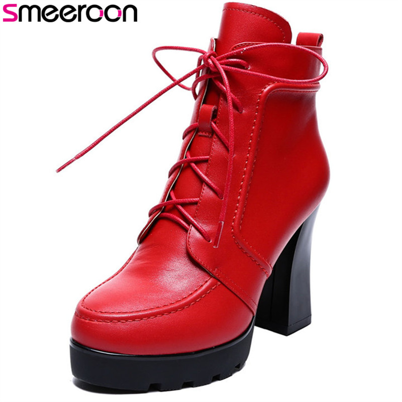 Smeeroon 2018 fashion autumn boots women round toe zip high heels ankle boots high quality top genuine leather boots red autumn and winter high quality new arrive genuine leather simple zip ankle boots fashion round toe sweet women boots