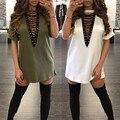 ZANZEA Женщины Лето Dress 2017 Дамы Sexy V-образным Вырезом Зашнуровать Выдалбливают Mini Dress Casual С Коротким Рукавом Бинты Vestidos Плюс Размер