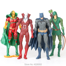 6 DC Comics Batman Green Arrow PVC Action Figures Superheroes Mr. Miracle Movable Joint Figurines Dolls Kids Toys for Children