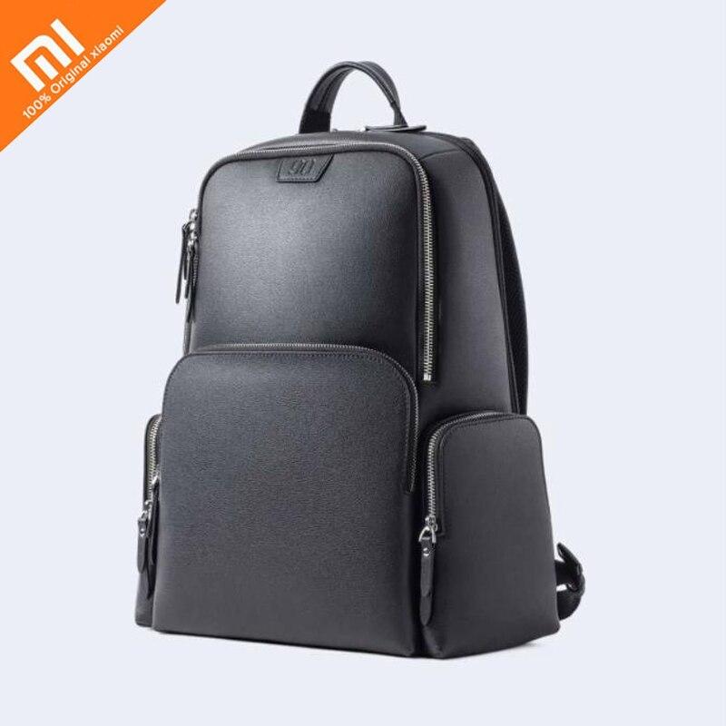 D'origine xiaomi mijia sac à dos en cuir full body en cuir casual sauvage hommes et femmes épaule sac classique large de haute qualité