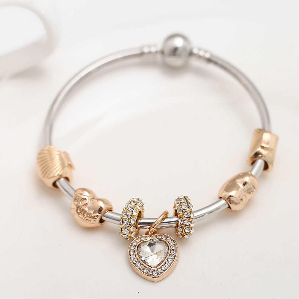 0e7d33256 ... Summer Style White Crystal Love Heart Pendant Charm Bracelet Bangle  Gold Color Shell Pandora Bracelets For ...