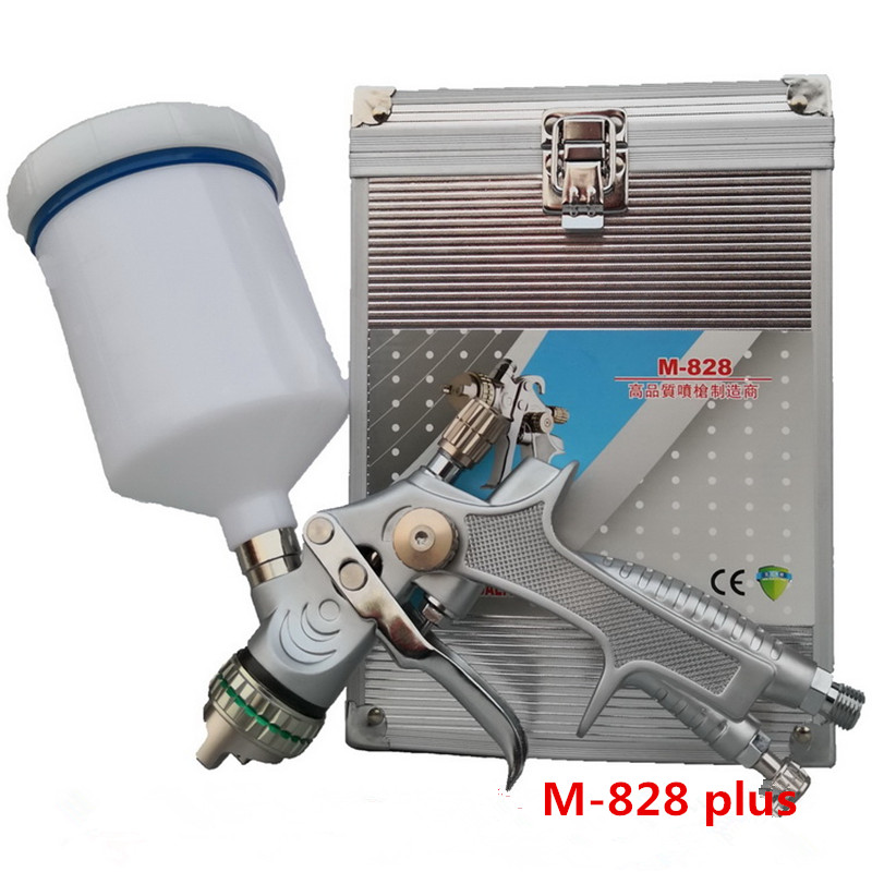 Gravity spray gun with 1.3mm nozzle pneumatic spray gun car Star model spray paint gun The aluminum box packaging of m-828 wholesale sandblasting gun feeding nozzle pneumatic spray mortar exterior wall decoration of building latex paint spray paint th page 2