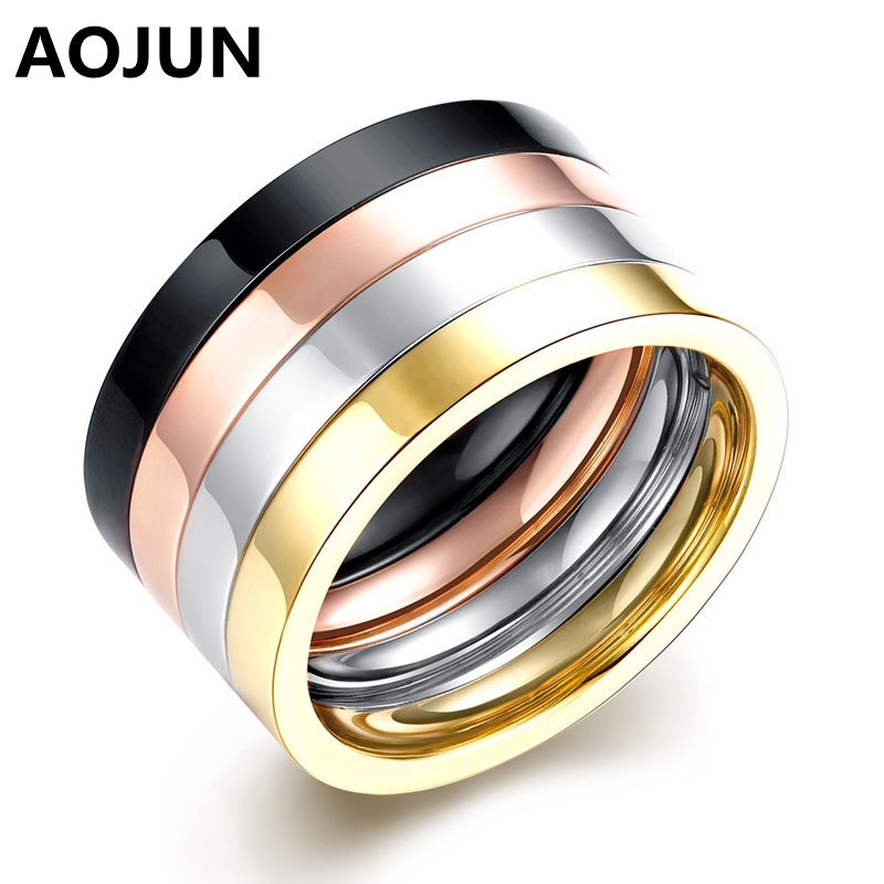 aojun punk couple ring set rose gold plated titanium rings anel male stainless steel wedding ring for women men jewelry 4pcsset - Where To Sell Wedding Ring