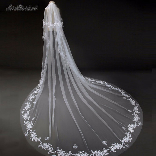 2015 White/Ivory Wedding Veil 3m Long Comb Lace Mantilla Cathedral Bridal Veil Wedding Accessories Veu De Noiva Real Photo DM-35