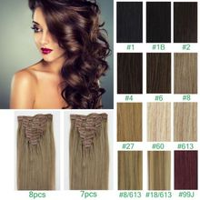 7A Full Head Clip In Human Hair Extensions For Sexy Women 7PC 10PC Blonde #613 Brazilian Virgin Straight Hair Clip In Extensions