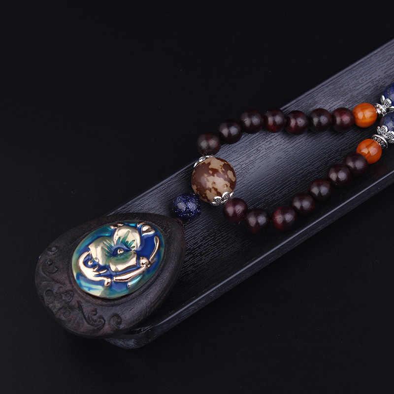 Hitam Rosewood Perhiasan Wanita Kayu Perhiasan Etnis Kalung Fashion Pearly Luster Buddha Cloisonne Bunga Vintage Kalung