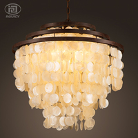 LOFT Vintage Wrought Iron American Stytle Industrial Chandelier Sea Shell Pendant Lamp For Restaurant Sitting Room Coffee Shop