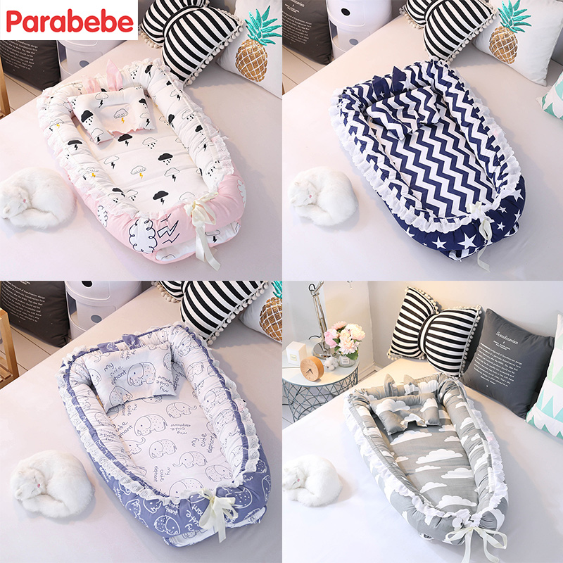 90X55CM Cotton Baby nest bed toddler size nest portable crib babynest for newborn Anti-rollover cushion with pillow Bumper ...