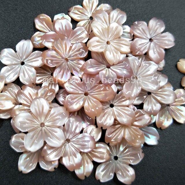 10 cái Sỉ Vận Chuyển Miễn Phí trang sức Đẹp 14 mét Hồng Mẹ của pearl Shell Flower Phụ Nữ Người Đàn Ông Mặt Dây Chuyền Hạt pMC4821
