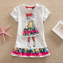 2016 Retail BABY Girl Clothes short Sleeve Girls Dress Kids pretty Dresses Full A-line children clothing new Cute style SH3660