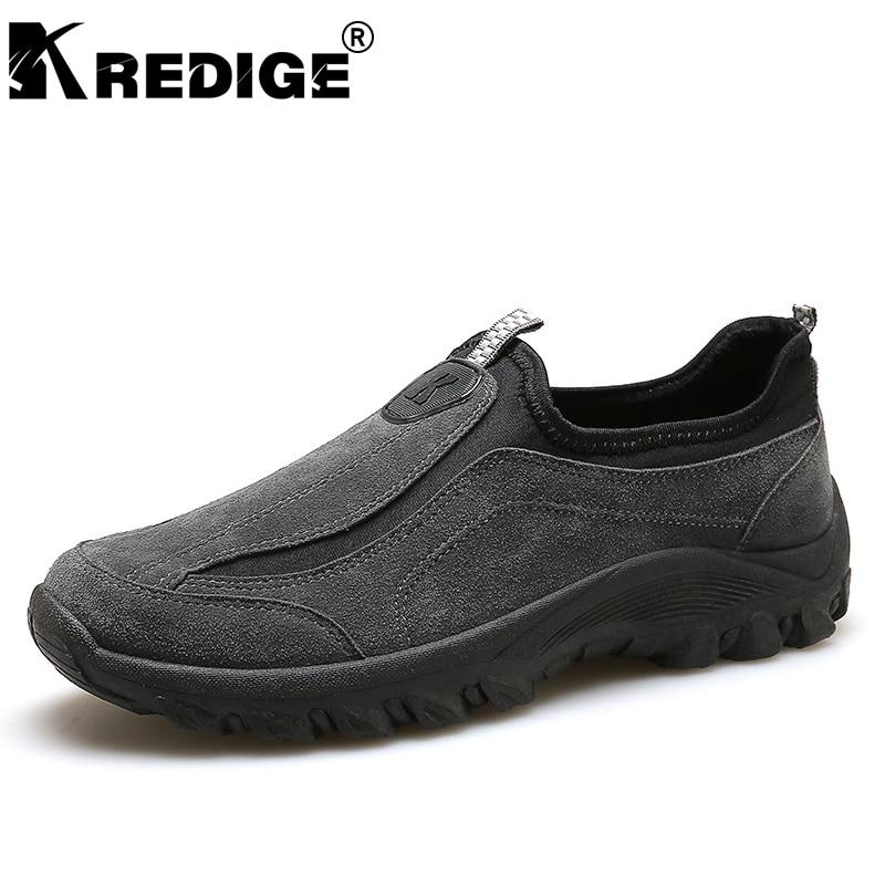 Kredide Новое поступление дышащая скольжения на повседневная обувь мужские анти-запах свет ленивый Обувь прочный подошвы мужской Обувь больши...