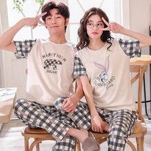 45354a6392 De algodón de verano conjuntos de Pijama parejas de manga corta Hombre Ropa  cuello redondo de las mujeres Pijamas Pijama pijamas.
