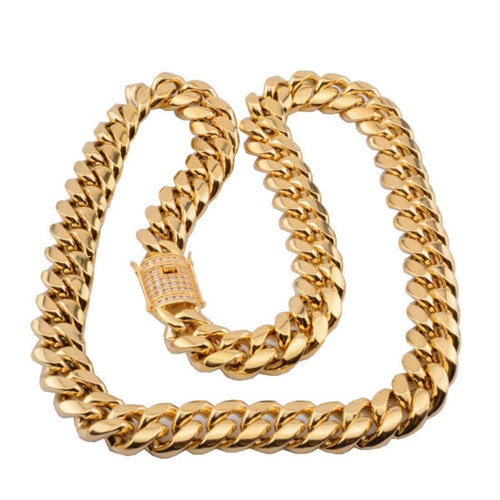 Hip hop 8/10/12/14mm Cuban Miami Chain Necklace Stainless steel Rhinestone Clasp Iced Out Gold Casting Chain Men Women Jewelry