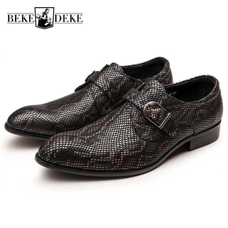 Top Quality Brand Autumn New Fashion Formal Shoes Men Genuine Leather Slip On Buckle Priting Dress Shoes Male Wedding Shoes slip on men casual shoes male sandal new fashion genuine leather low heel high quality brand korean style thick bottom plus size