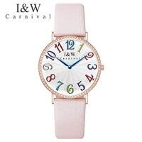 Красочный Карнавал сказка Для женщин часы розовый кожаный Топ Роскошные брендовые кварт платье часы Водонепроницаемый модная одежда для д