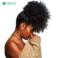 Virgo Afro Kinky Curly Hair Ponytail Drawstring Ponytail Clip in Human Hair Extensions Remy Hair Ponytail for Black Women