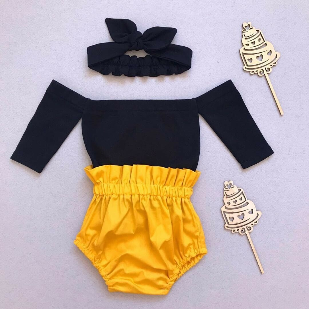 Summer 0-24M Cute Baby Girls Clothes Sets Off Shoulder Black Tops+Shorts+Headband Outfits Set
