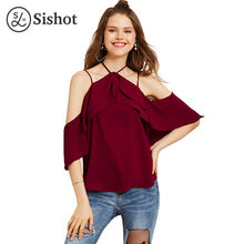Sishot women casual blouse 2017 summer burgundy solid loose chiffon plain backless halter short sleeve reffles casual shirts