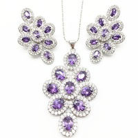 Cubic Zirconia Indian Silver 925 Jewelry Sets For Women purple Big CZ Created pendant Necklace And Earring Ladies